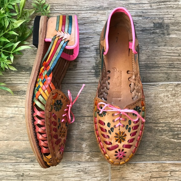 2b0f1b58c2809 handmade Shoes - Mexican Huaraches Women floral colorful leather